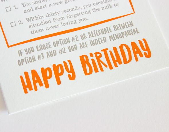 Funny Menopause Birthday Card