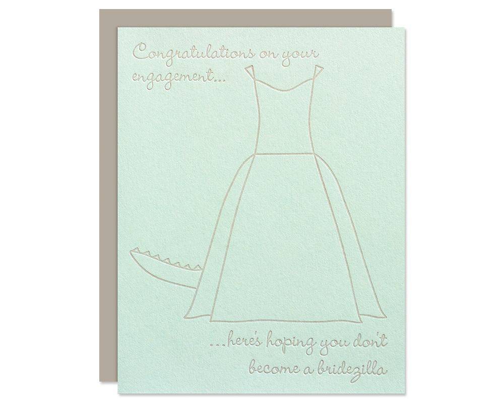 funny bridal shower card bridezilla engagement card bloom letterpress design